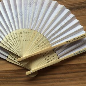 personalised-white-silk-hand-fans-wedding-on-sale-free-postage