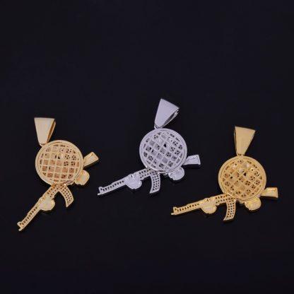 Cartoon-Round-Face-With-Gun-Necklace-Pendant-Chain-Charm-Gold-Color-Cubic-Zircon-Men-s-Hip-1