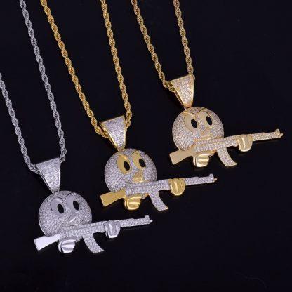 Cartoon-Round-Face-With-Gun-Necklace-Pendant-Chain-Charm-Gold-Color-Cubic-Zircon-Men-s-Hip-2