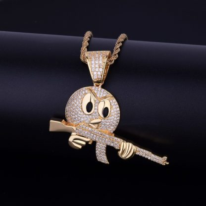 Cartoon-Round-Face-With-Gun-Necklace-Pendant-Chain-Charm-Gold-Color-Cubic-Zircon-Men-s-Hip-3