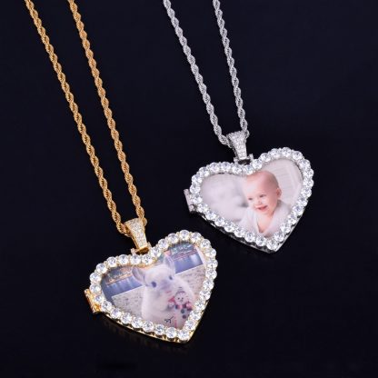 Custom-Made-Photo-Heart-Medallions-Necklace-Pendant-With-4mm-Tennis-Chain-Gold-Color-AAA-Zircon-Men-3