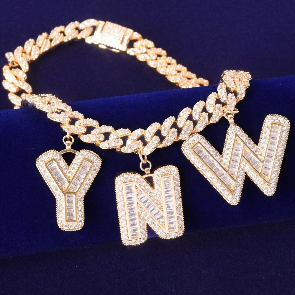 Hip Hop bling Custom Name Letters bracelet With 10MM Cuban ...